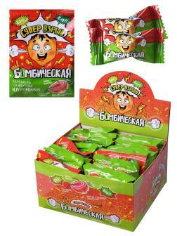 Карамель леденцовая клубника Канди клаб Бомбическая, 15 гр., флоу-пак
