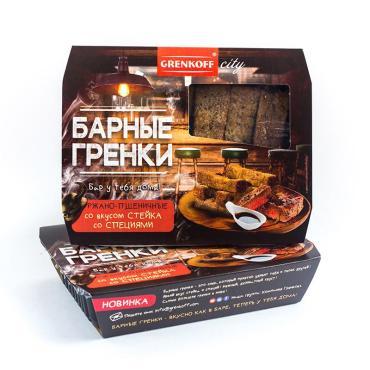 Гренки барные ржано-пшеничные со вкусом стейка со специями GRENKOFF, 70 гр., пластиковая упаковка