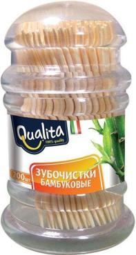 Зубочистки бамбуковые, 200 штук, Qualita, пластиковая банка
