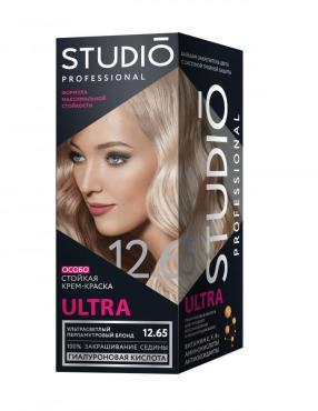 Крем-краска для волос для седых волос, тон 12.65 Ультрасветлый перламутровый блонд, Studio Professional Ultra, 115 мл., картонная коробка