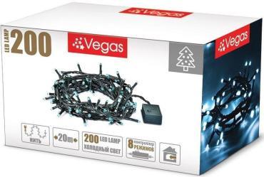 Гирлянда электрическая с контроллером, 200 ламп, длина 20 м., свет холодный, Vegas Нить, 375 гр., картонная коробка