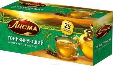 Чай зеленый тонизирующий, 25 пакетиков Лисма, 50 гр., картон