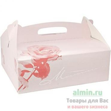 Коробка для пирожных 260х220х90 мм. картон розовый Papstar