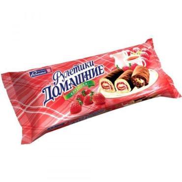 Рулетики-мини со вкусом клубника Раменский Домашние, 150 гр., флоу-пак