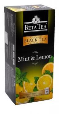 Чай черный Mint & lemon, 25 пакетиков по 2 гр.,  Beta tea, 50 гр., картонная коробка