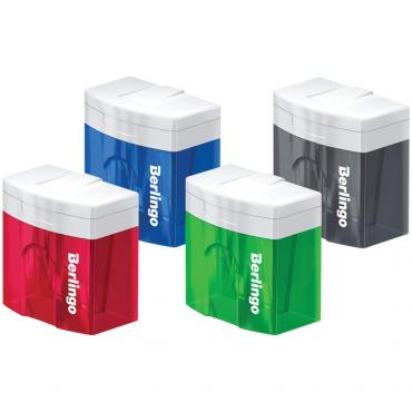 Точилка пластиковая Berlingo Perfect XL, 2 отверстия, контейнер, ассорти