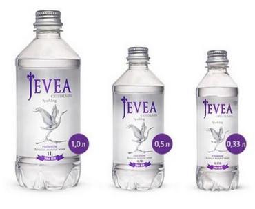Вода Jevea минеральная природная питьевая столовая кристальная газированная ,1 л.,ПЭТ
