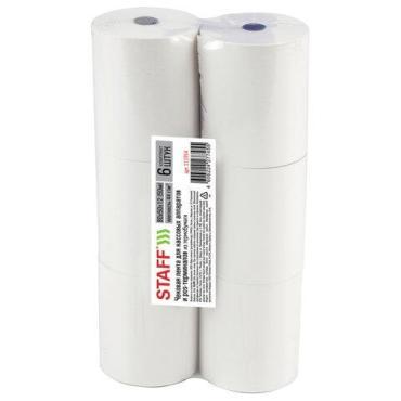 Чековая лента STAFF Basic термобумага 80 мм, диаметр 56 мм, длина 50 м, втулка 12 мм, комплект 6 шт., 44 г/м2,