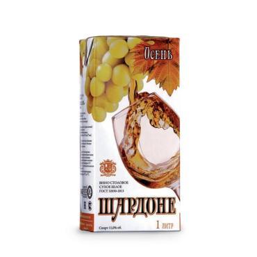Вино столовое белое сухое Шардоне Осень, 10-12%, Крым, 1 л., тетра-пак