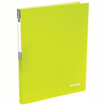 Папка на 4 кольцах Berlingo Neon, 25мм, 700мкм, неоновая желтая