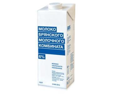 Молоко 6% ультрапастеризованное Брянский молочный комбинат, 1 л., тетра-пак