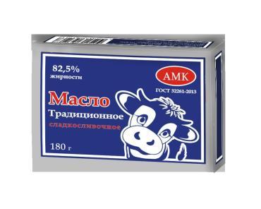Масло сливочное 82,5% АМК Традиционное, 180 гр., обертка фольга/бумага