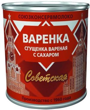 Продукт молочный Сгущенка вареная с сахаром Варенка, ж. 4%, Советская, 370 гр., жестяная банка