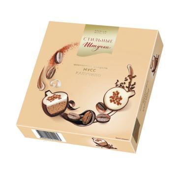 Конфеты шоколадные Мусс Капучино, Стильные штучки, 104 гр., картонная коробка