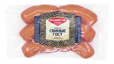 Сардельки свиные ГОСТ н/о газ., Владимирский Стандарт, 800 гр., вакуумная упаковка