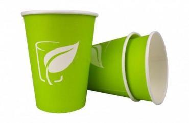 Стакан бумажный 250 мл. для горячего зеленый (лист), 50 шт.