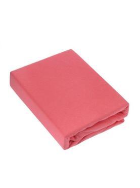 Простыня трикотажная на резинке 140*200 100% хлопок, плотность 145 гр. коралловая, пластиковый пакет