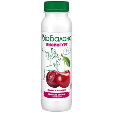 Йогурт питьевой бзмж вишня-черешня 1%, Bio Баланс, 270 гр, ПЭТ