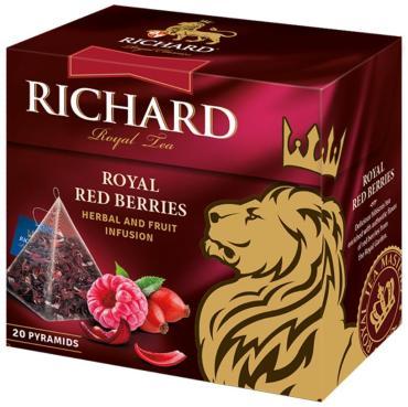 Чайный напиток каркаде с добавками в пирамидках, 20 пак, Richard Royal Red Berries, 34 гр., картонная коробка