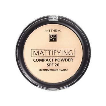 Матирующая компактная пудра для лица Mattifying Compact Powder SPF 20, тон 02 Natural Beige, Vitex, 10 гр., пластиковая упаковка