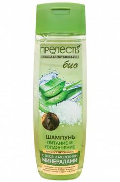 Шампунь Питание и увлажнение для всех типов с алоэ и морскими минералами, Прелесть Био, 400 мл., пластиковая бутылка