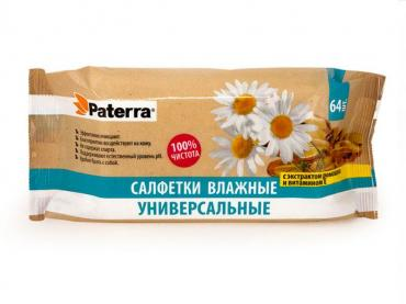 Салфетки влажные универсальные с экстрактом ромашки и витамином Е 64шт Paterra, флоу-пак