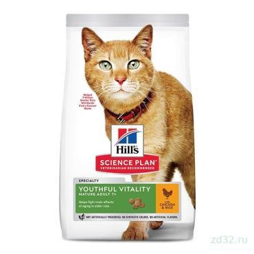Корм сухой для пожилых кошек (7+) для поддержания активности и жизненной энергии с курицей Hill's Science Plan, 1,5 кг., пластиковый пакет