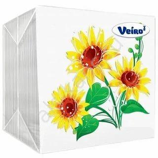 Салфетки бумажные с рисунком 24х24 см., 100 шт., пластиковый пакет