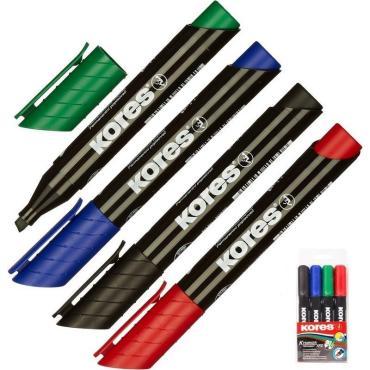 Маркер перманентный KORES набор 4 цв. 3-5 мм скошенный наконечник 20945