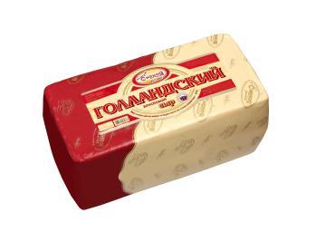 Сыр Голландский 45% Сырая долина, 4 кг., вакуумная упаковка