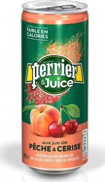 Газированный напиток персик-вишня Perrier, 250 мл., ж/б