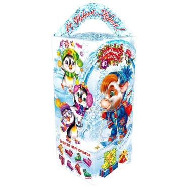 Новогодний подарок Четырехгранка малая снегопарк Красный Октябрь 500 гр., картонная коробка