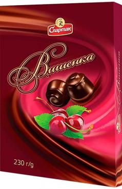 Шоколадные конфеты вишенка Спартак, 230 гр., картонная коробка