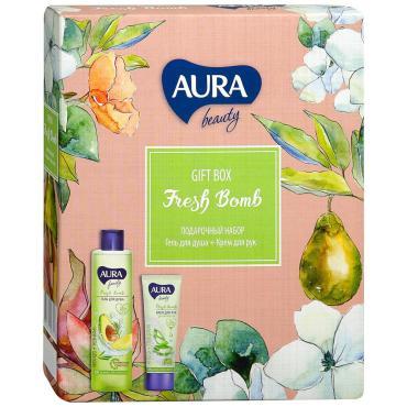 Подарочный набор Гель для душа Авокадо и розмарин Крем для рук Увлажняющий Aura beauty Fresh Bomb 250 мл., картонная коробка