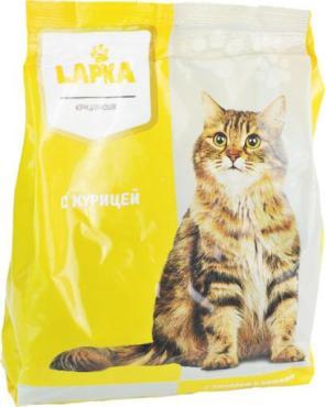 Корм для кошек сухой с курицей Lapka, 350 гр., пластиковый пакет