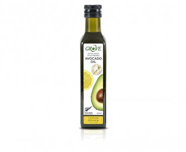 НОВИНКА Масло авокадо нерафинированное, первый холодный отжим,Grove, со вкусом лимонного перца Avocado Oil Extra Virgin Lemon Pepper Flavoured,Н.Зелеандия , 250 мл.,стекло
