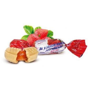 Карамель с желейной начинкой со вкусом клубники Конфил Музыкальная мозайка , 1 кг., пластиковый пакет