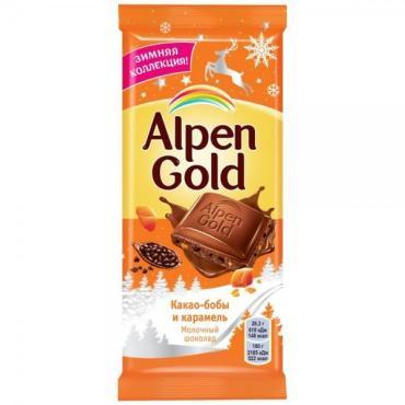 Шоколад молочный с карамелезированными кусочками какао-бобов и кусочками карамели , Alpen Gold, 85 гр., флоу-пак
