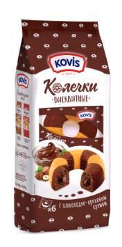 Пирожные бисквитные колечки с шоколадно-ореховым кремом Kovis, 240 гр., пластиковый пакет
