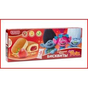 Пирожное бисквиты с клубничным джемом Trolls ,Makfa, 150 гр., картон