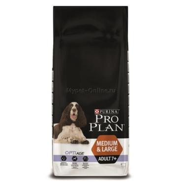 Корм сухой для собак с курицей и рисом, Pro Plan Optiage Medium&Large Adult 7+, 14 кг., пластиковый пакет