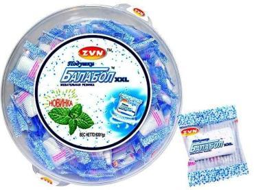 Жевательная резинка мята, XXL, 180 штук, Балабол, 600 гр., пластиковая упаковка