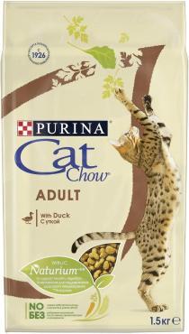 Сухой корм для взрослых кошек с уткой Cat Chow Adult Duck 1,5 кг., пластиковый пакет