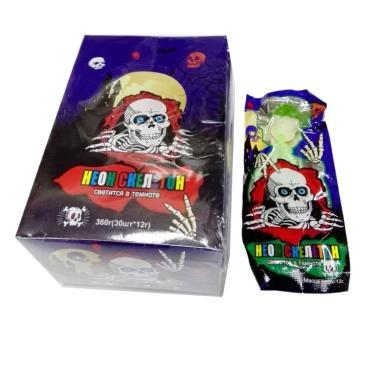 Карамель скелет светящийся в темноте, 12 гр., флоу-пак