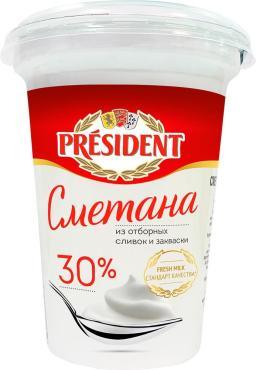 Сметана 30% President 350 гр., стакан