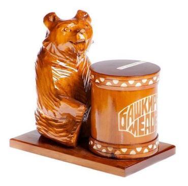 Мёд Башкирская медовня липовый Медведь за бочкой, 300 гр, подарочная упаковка