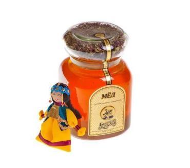 Мёд с травяным чаем и куклой липовый Башкирская медовня, 900 гр., стекло