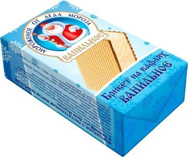 Мороженое ванильный брикет на вафлях Айсберри От Деда Мороза, 80 гр., обертка фольга/бумага