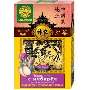 Чай черный китайский крупнолистовой с имбирем Shennun, 100 гр., картон