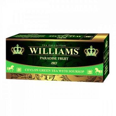Чай, зеленый с добавками, 25 пакетиков Williams Paradise Fruit, 45 гр., картон